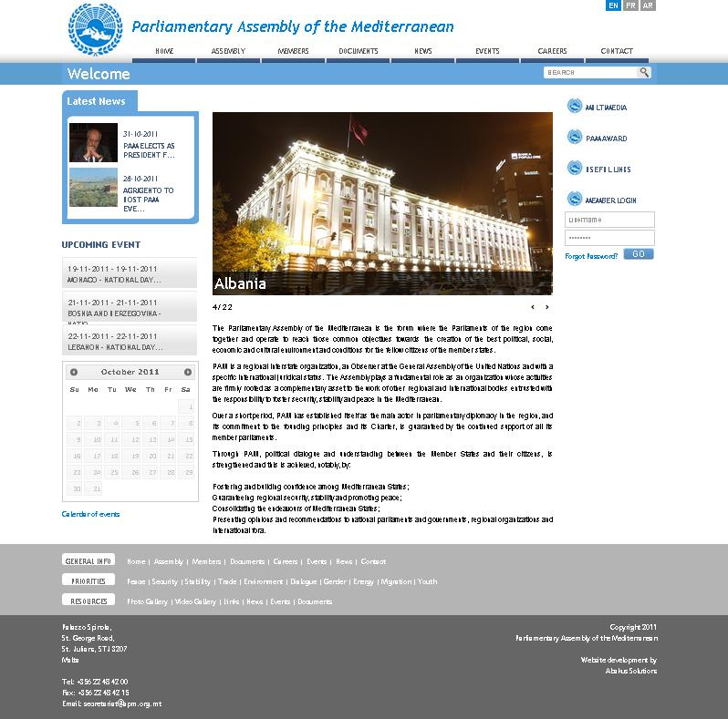 Revamping of the Parliamentary Assembly of the Mediterranean website